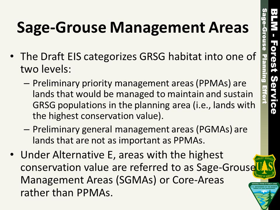 Sage-Grouse Planning Effort - Forest Service Sage-Grouse Planning Effort - Forest Service Sage-Grouse Management Areas The Draft EIS categorizes GRSG habitat into one of two levels: – Preliminary priority management areas (PPMAs) are lands that would be managed to maintain and sustain GRSG populations in the planning area (i.e., lands with the highest conservation value).