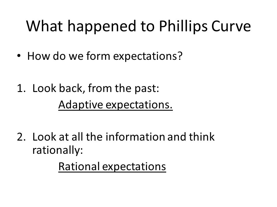 What happened to Phillips Curve How do we form expectations.