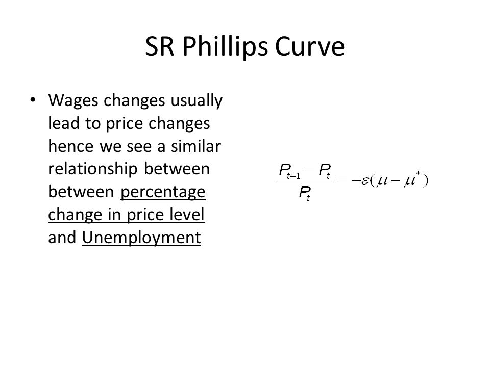 SR Phillips Curve Wages changes usually lead to price changes hence we see a similar relationship between between percentage change in price level and Unemployment