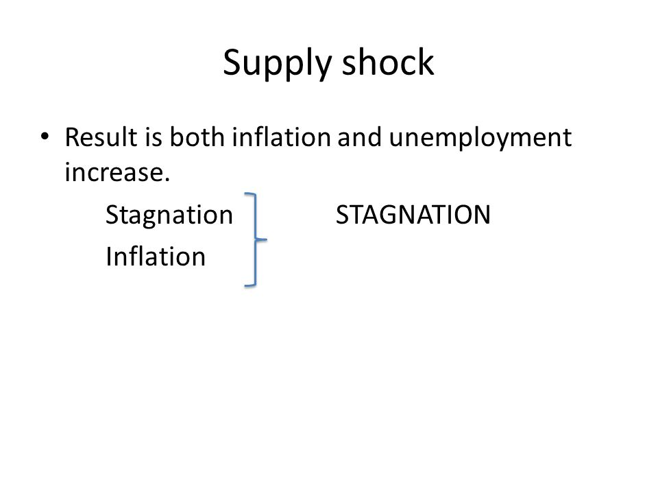 Supply shock Result is both inflation and unemployment increase. Stagnation STAGNATION Inflation