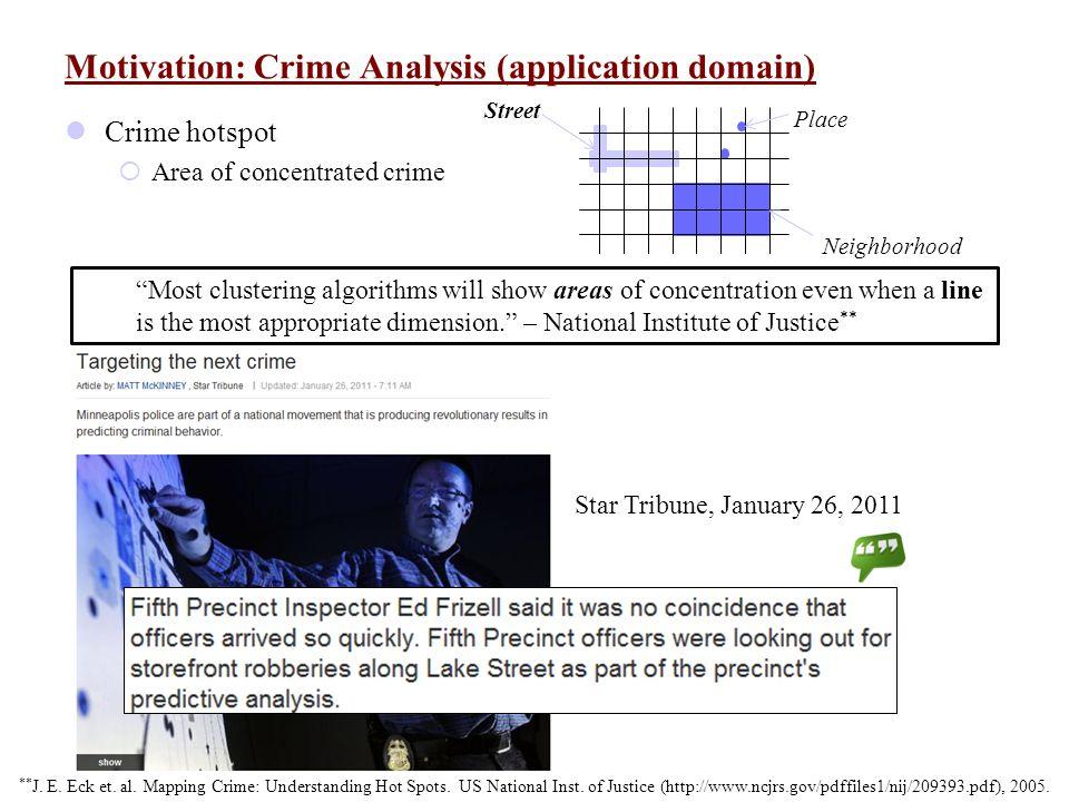 Motivation: Crime Analysis (application domain) Crime hotspot  Area of concentrated crime Street Place Neighborhood ** J. E. Eck et. al. Mapping Crim