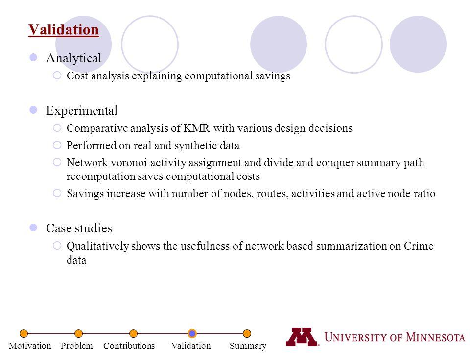 Motivation Problem Contributions Validation Summary Validation Analytical  Cost analysis explaining computational savings Experimental  Comparative