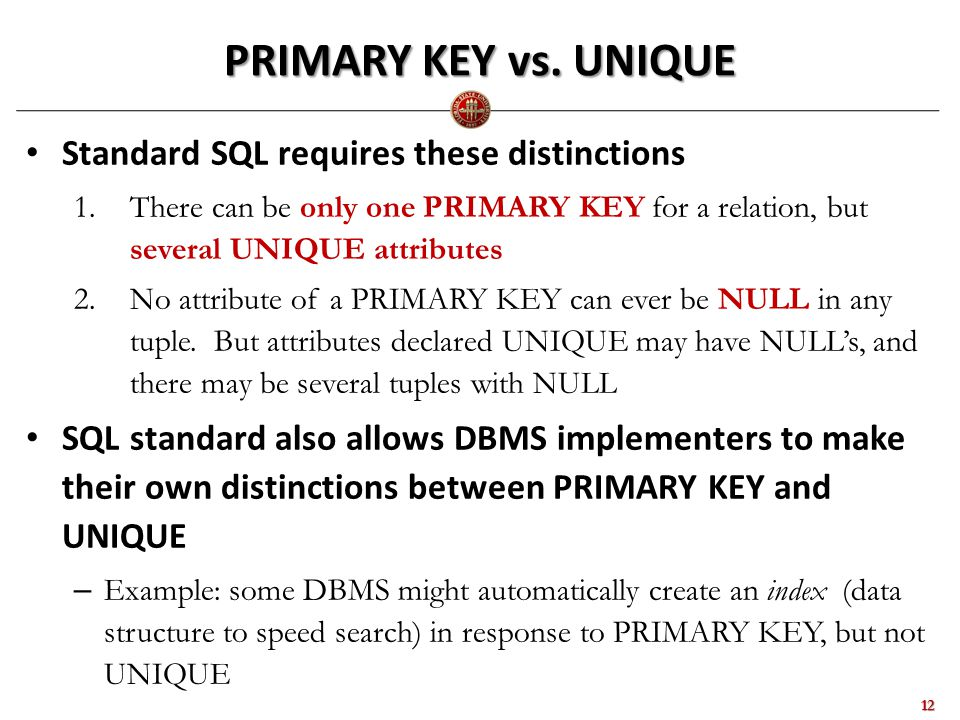 PRIMARY KEY vs.