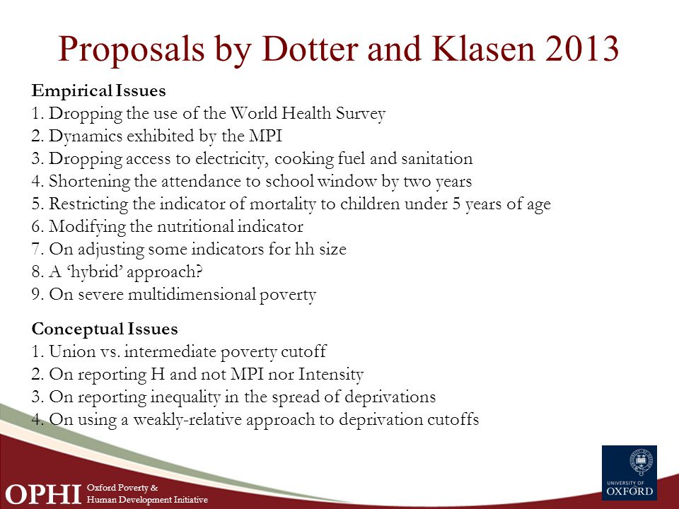 Proposals by Dotter and Klasen 2013 Empirical Issues 1.