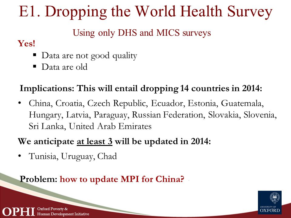 E1. Dropping the World Health Survey Using only DHS and MICS surveys Yes.