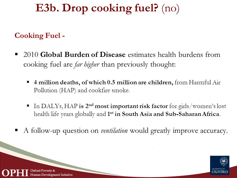E3b. Drop cooking fuel.