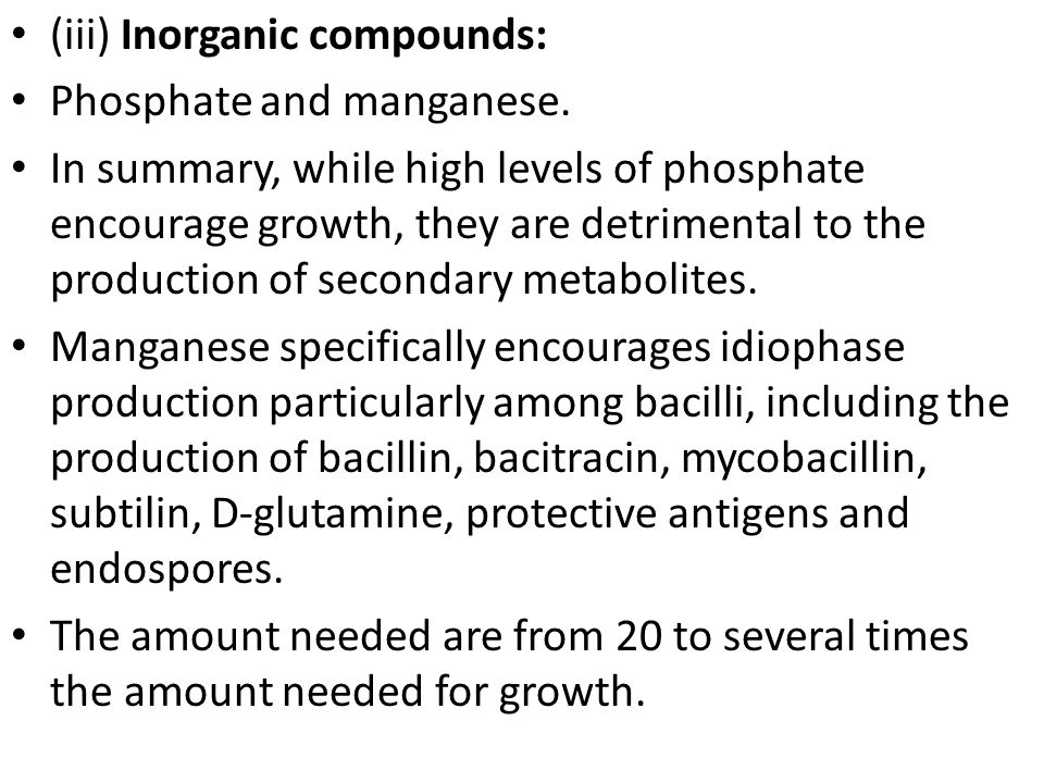 (iii) Inorganic compounds: Phosphate and manganese.