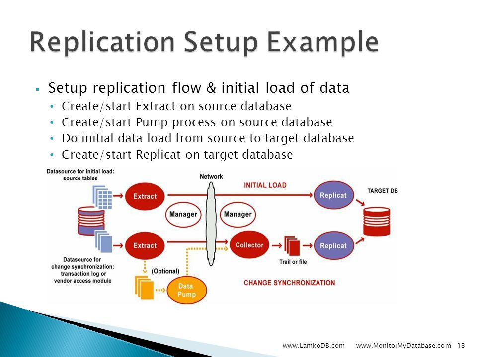  Setup replication flow & initial load of data Create/start Extract on source database Create/start Pump process on source database Do initial data load from source to target database Create/start Replicat on target database www.LamkoDB.com www.MonitorMyDatabase.com13