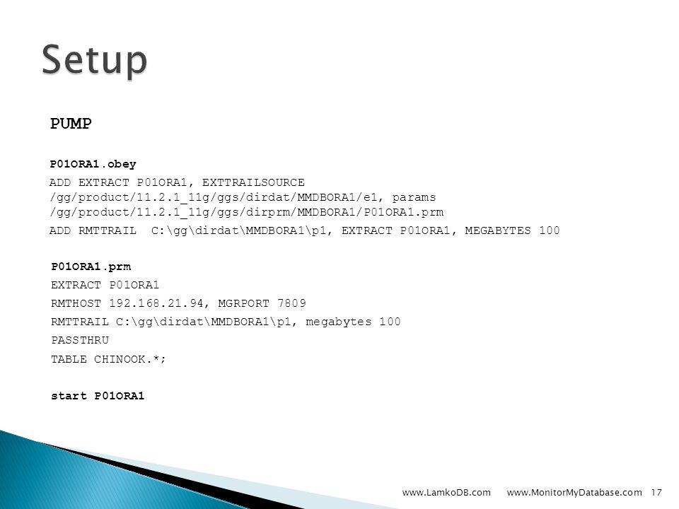 PUMP P01ORA1.obey ADD EXTRACT P01ORA1, EXTTRAILSOURCE /gg/product/11.2.1_11g/ggs/dirdat/MMDBORA1/e1, params /gg/product/11.2.1_11g/ggs/dirprm/MMDBORA1/P01ORA1.prm ADD RMTTRAIL C:\gg\dirdat\MMDBORA1\p1, EXTRACT P01ORA1, MEGABYTES 100 P01ORA1.prm EXTRACT P01ORA1 RMTHOST 192.168.21.94, MGRPORT 7809 RMTTRAIL C:\gg\dirdat\MMDBORA1\p1, megabytes 100 PASSTHRU TABLE CHINOOK.*; start P01ORA1 www.LamkoDB.com www.MonitorMyDatabase.com17
