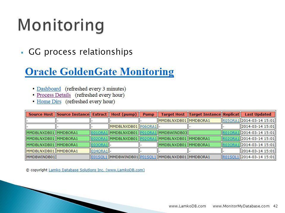  GG process relationships www.LamkoDB.com www.MonitorMyDatabase.com42