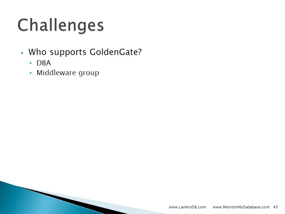  Who supports GoldenGate DBA Middleware group www.LamkoDB.com www.MonitorMyDatabase.com43