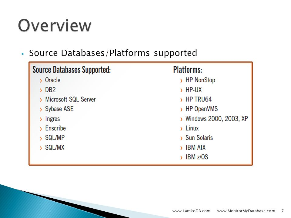  Source Databases/Platforms supported www.LamkoDB.com www.MonitorMyDatabase.com7