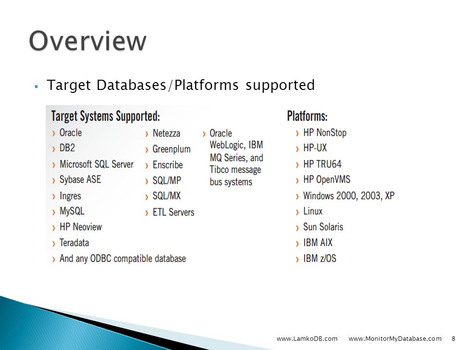  Target Databases/Platforms supported www.LamkoDB.com www.MonitorMyDatabase.com8