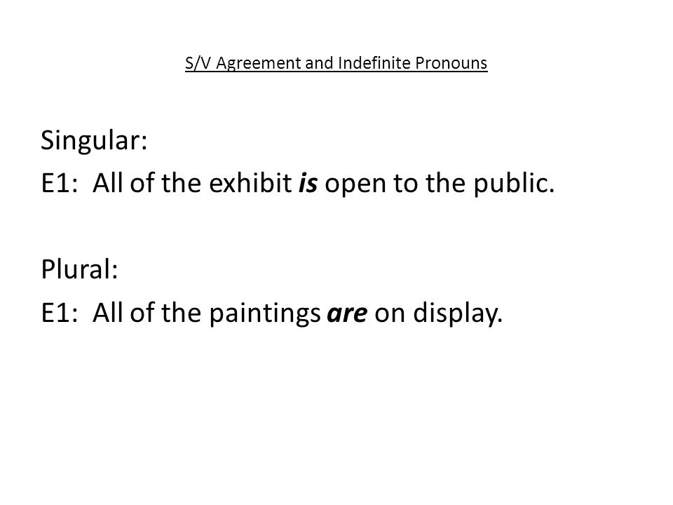 S/V Agreement and Indefinite Pronouns Singular: E1: All of the exhibit is open to the public.