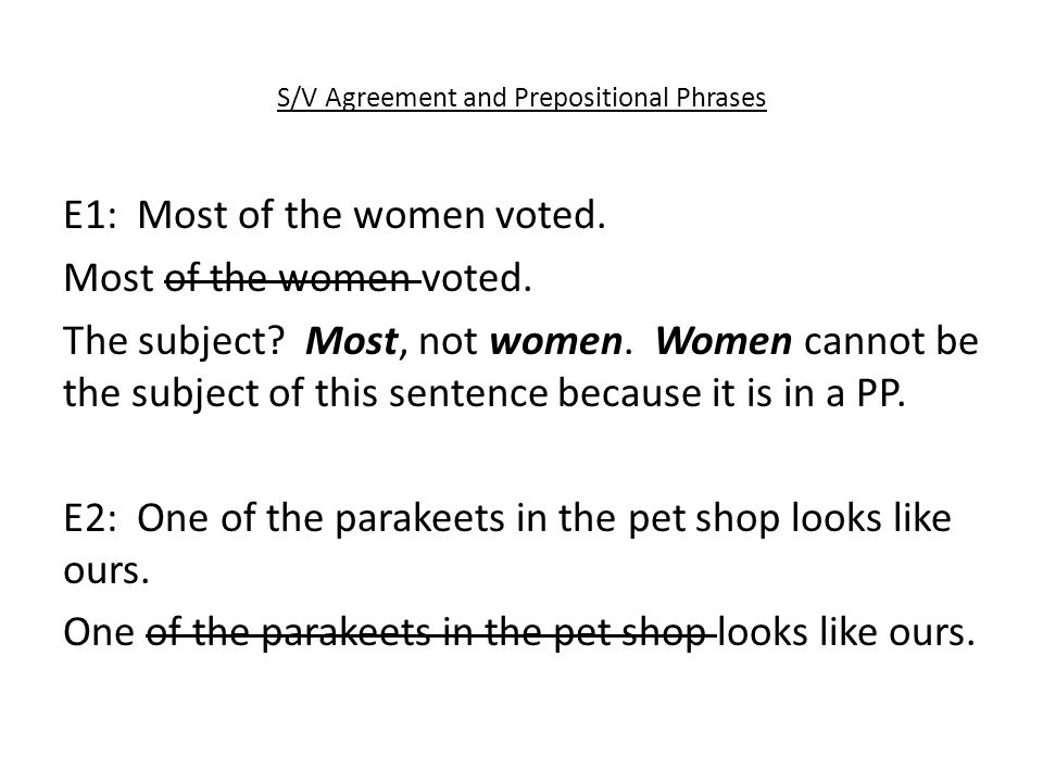 S/V Agreement and Prepositional Phrases E1: Most of the women voted.