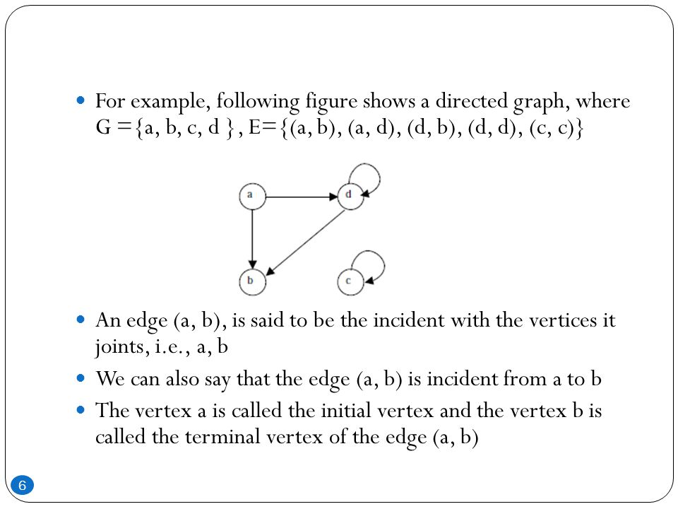 If an edge that is incident from and into the same vertex, say (d, d) or (c, c) in figure, is called a loop Two vertices are said to be adjacent if they are joined by an edge Consider edge (a, b), the vertex a is said to be adjacent to the vertex b, and the vertex b is said to be adjacent to vertex a A vertex is said to be an isolated vertex if there is no edge incident with it In this figure vertex C is an isolated vertex 7