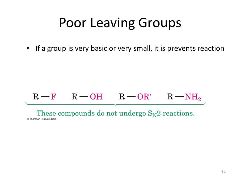 Poor Leaving Groups If a group is very basic or very small, it is prevents reaction 14