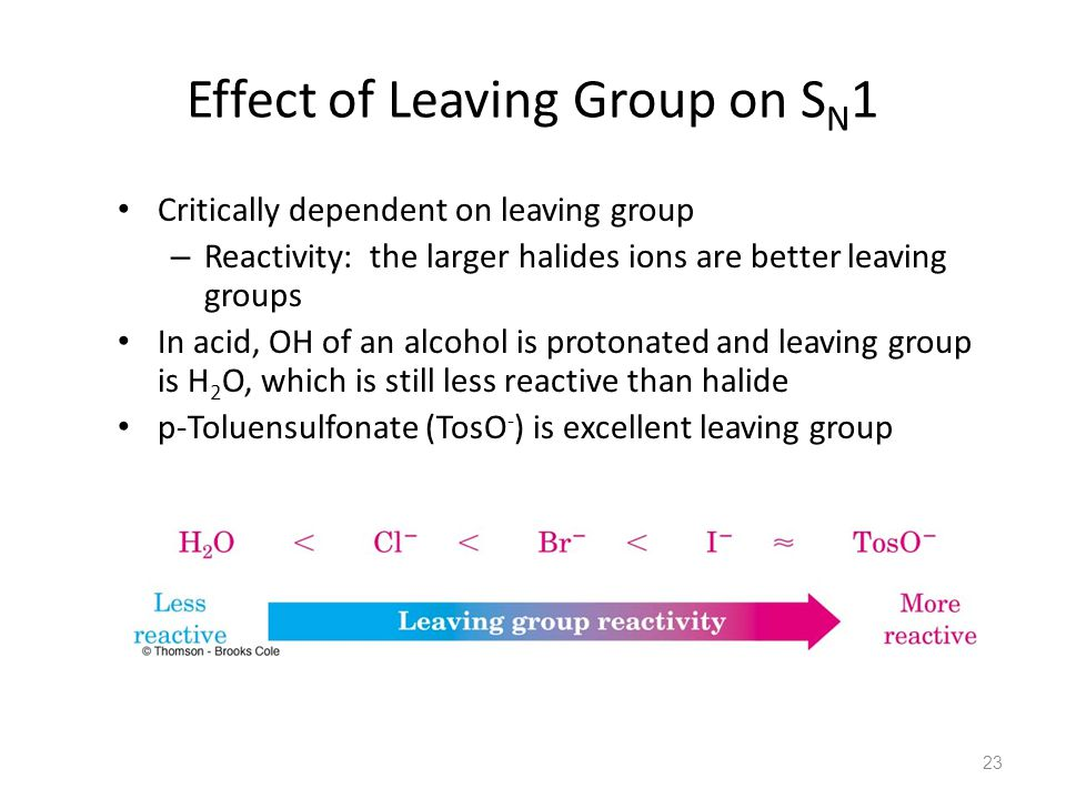 Effect of Leaving Group on S N 1 Critically dependent on leaving group – Reactivity: the larger halides ions are better leaving groups In acid, OH of an alcohol is protonated and leaving group is H 2 O, which is still less reactive than halide p-Toluensulfonate (TosO - ) is excellent leaving group 23