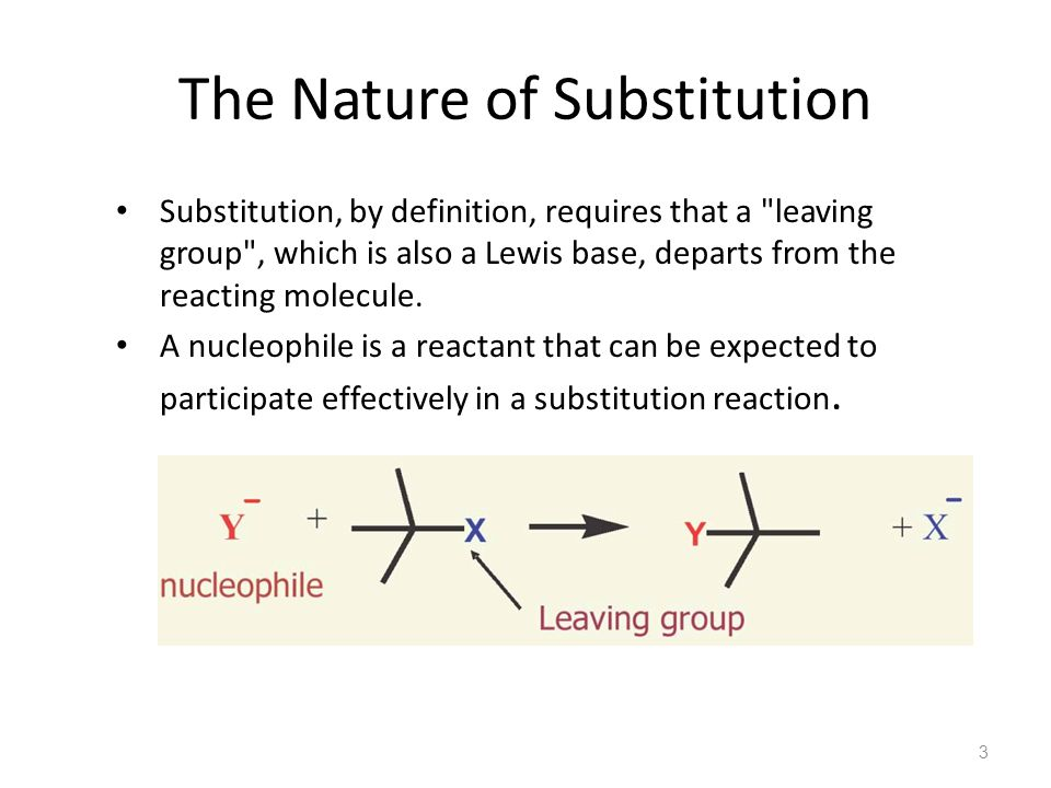 The Nature of Substitution Substitution, by definition, requires that a leaving group , which is also a Lewis base, departs from the reacting molecule.