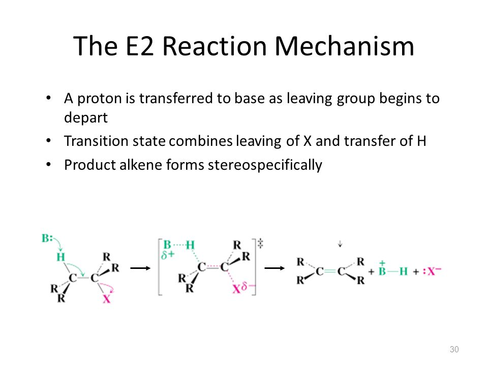The E2 Reaction Mechanism A proton is transferred to base as leaving group begins to depart Transition state combines leaving of X and transfer of H Product alkene forms stereospecifically 30