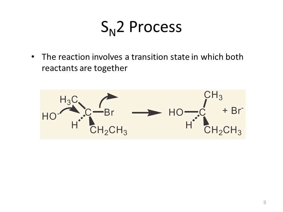 S N 2 Process The reaction involves a transition state in which both reactants are together 9