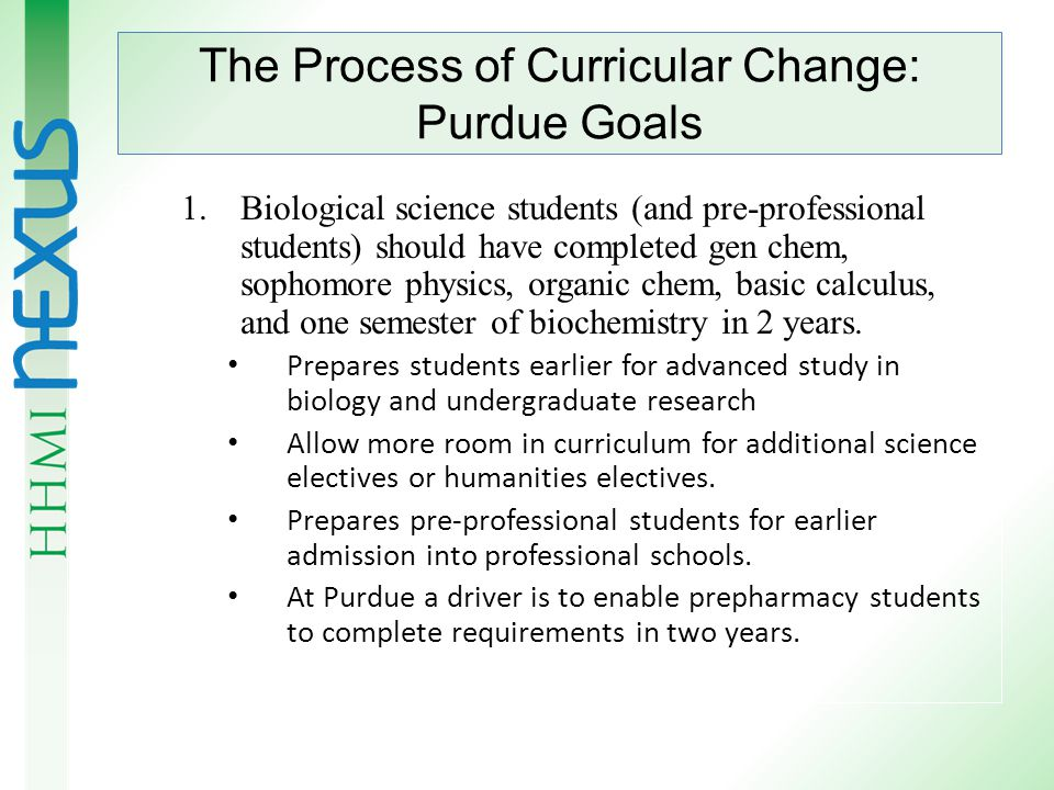 The Process of Curricular Change We are focusing on chemistry; similar efforts are going on in mathematics and physics.