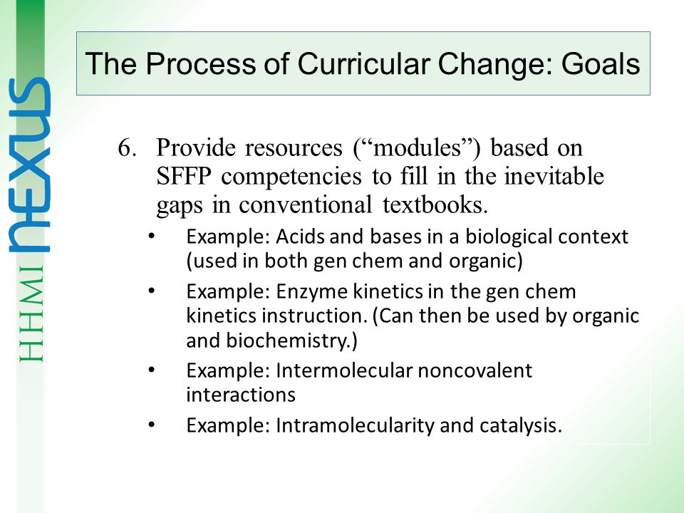 The Process of Curricular Change: Goals 4.Laboratories should be re-designed with guided- design and/or research approaches rather than cookbook approaches.