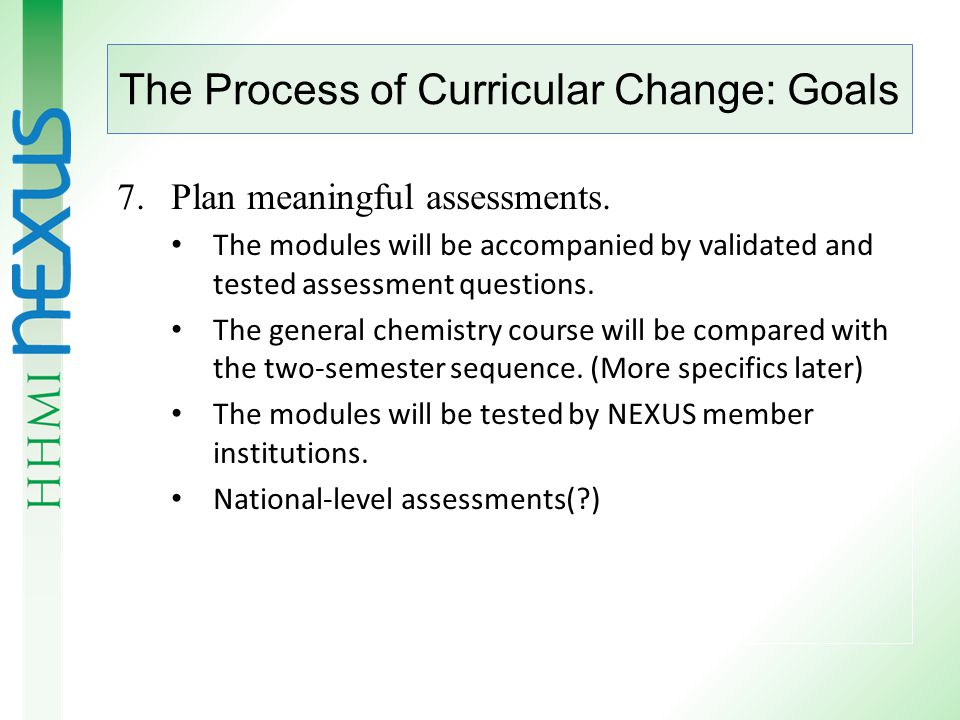 The Process of Curricular Change: Goals 6.Provide resources ( modules ) based on SFFP competencies to fill in the inevitable gaps in conventional textbooks.