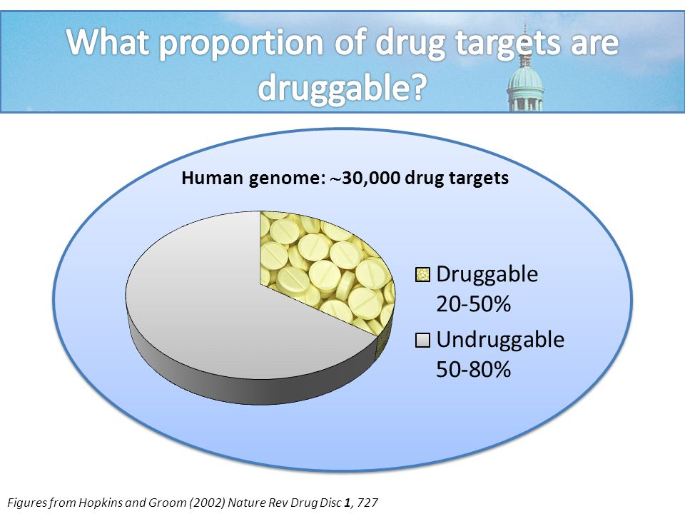 Human genome:  30,000 drug targets Disease-related targets:  10% Figures from Hopkins and Groom (2002) Nature Rev Drug Disc 1, 727