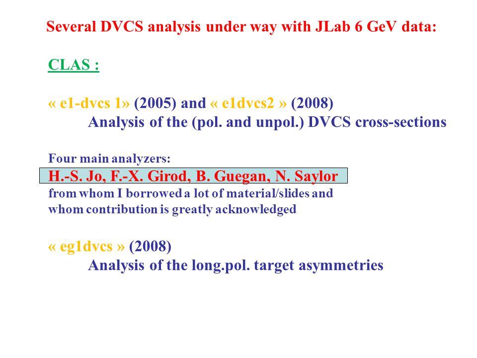 CLAS : « e1-dvcs 1» (2005) and « e1dvcs2 » (2008) Analysis of the (pol.