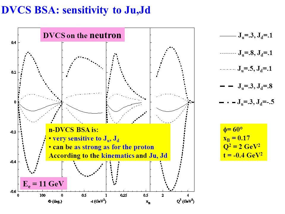  = 60° x B = 0.17 Q 2 = 2 GeV 2 t = -0.4 GeV 2 n-DVCS BSA is: very sensitive to J u, J d can be as strong as for the proton According to the kinematics and Ju, Jd DVCS on the neutron J u =.3, J d =.1 J u =.8, J d =.1 J u =.5, J d =.1 J u =.3, J d =.8 J u =.3, J d =-.5 E e = 11 GeV DVCS BSA: sensitivity to Ju,Jd
