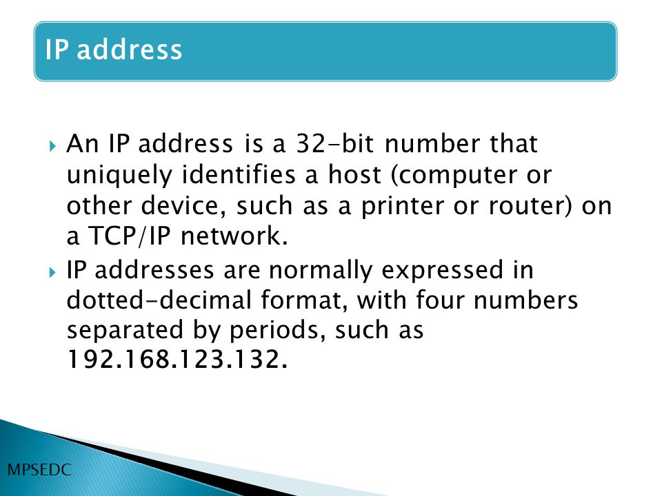  An IP address is a 32-bit number that uniquely identifies a host (computer or other device, such as a printer or router) on a TCP/IP network.  IP a