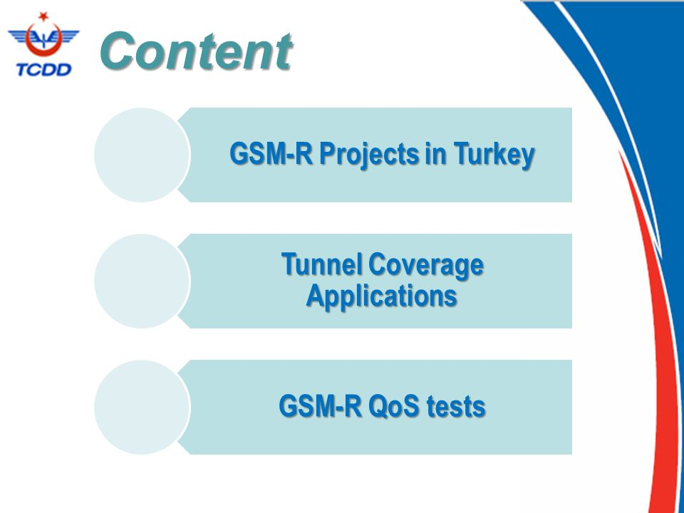 Content GSM-R Projects in Turkey Tunnel Coverage Applications GSM-R QoS tests