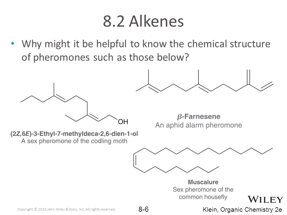 Alkenes are also important compounds in the chemical industry 70 billion pounds of propylene (propene) and 200 billion pounds of ethylene (ethene) are both made from cracking petroleum each year 8.2 Alkenes Copyright © 2015 John Wiley & Sons, Inc.
