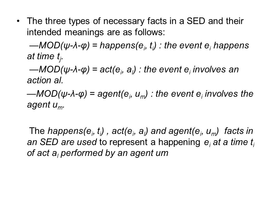 The three types of necessary facts in a SED and their intended meanings are as follows: —MOD(ψ-λ-φ) = happens(e i, t i ) : the event e i happens at time t j.