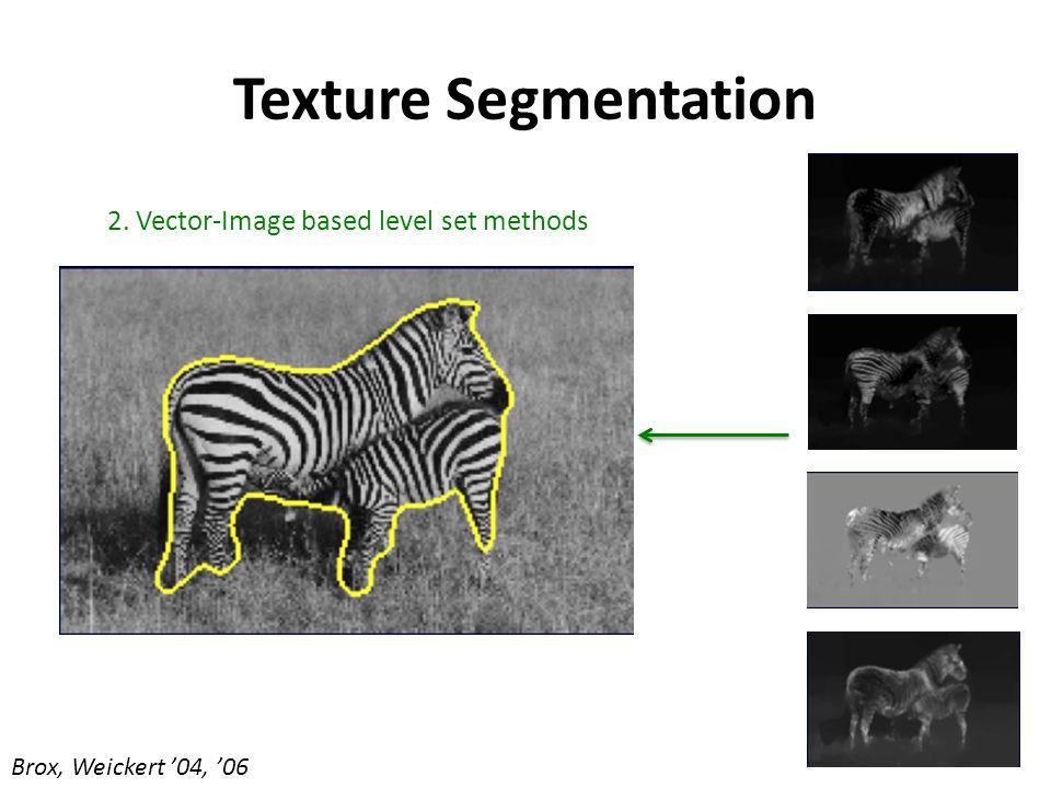 Texture Segmentation 2. Vector-Image based level set methods Brox, Weickert '04, '06