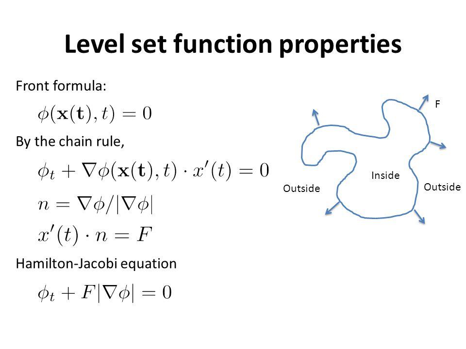 Level set method work flow Initialize level set function Φ t=0 Compute speed F Compute level set function in next state Φ t+1 Compute final zero level set Reinitialize level set function t++ e.g.