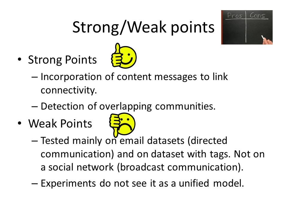 Strong/Weak points Strong Points – Incorporation of content messages to link connectivity.
