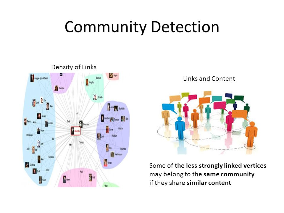 Community Detection Links and Content Density of Links Some of the less strongly linked vertices may belong to the same community if they share similar content