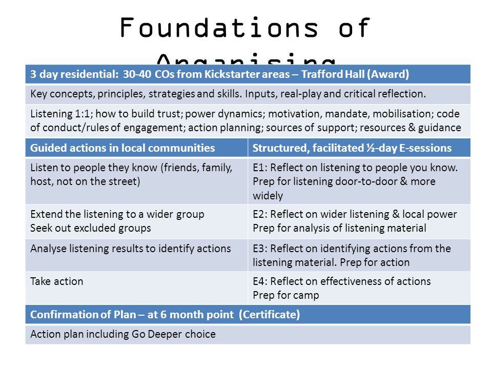 Foundations of Organising Guided actions in local communitiesStructured, facilitated ½-day E-sessions Listen to people they know (friends, family, hos