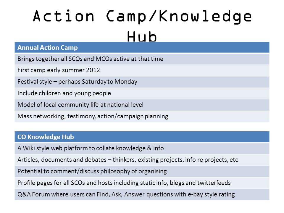 Action Camp/Knowledge Hub Annual Action Camp Brings together all SCOs and MCOs active at that time First camp early summer 2012 Festival style – perha
