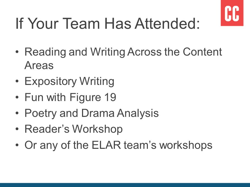 If Your Team Has Attended: Reading and Writing Across the Content Areas Expository Writing Fun with Figure 19 Poetry and Drama Analysis Reader's Workshop Or any of the ELAR team's workshops