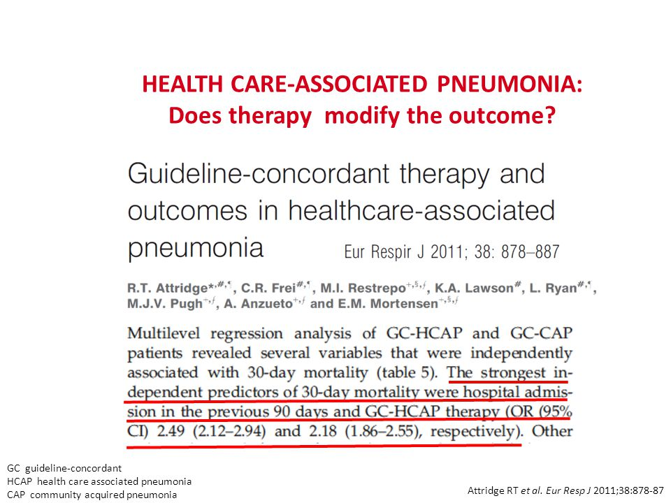HEALTH CARE-ASSOCIATED PNEUMONIA: Does therapy modify the outcome.