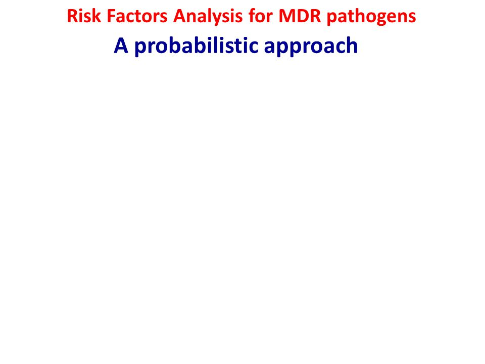 Risk Factors Analysis for MDR pathogens A probabilistic approach