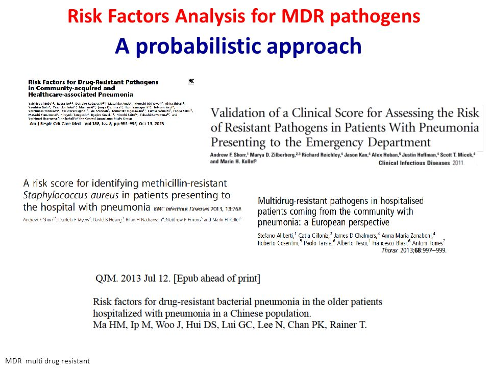 Risk Factors Analysis for MDR pathogens A probabilistic approach MDR multi drug resistant