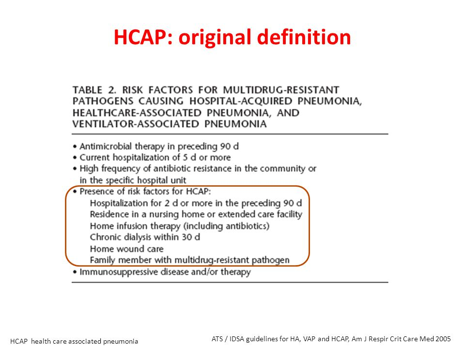 HCAP: original definition ATS / IDSA guidelines for HA, VAP and HCAP, Am J Respir Crit Care Med 2005 HCAP health care associated pneumonia