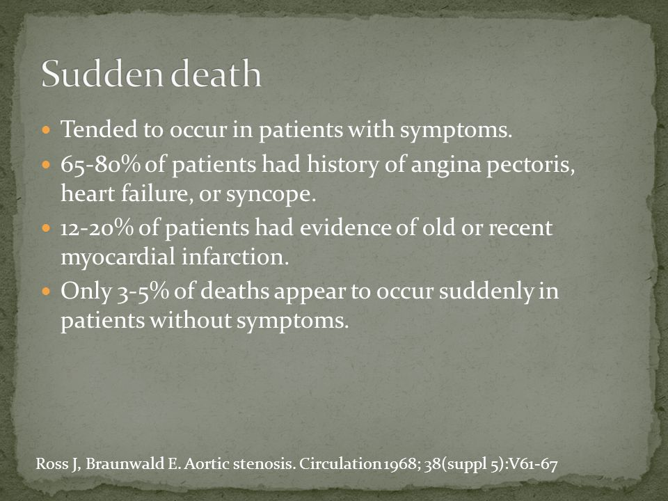 Tended to occur in patients with symptoms. 65-80% of patients had history of angina pectoris, heart failure, or syncope. 12-20% of patients had eviden