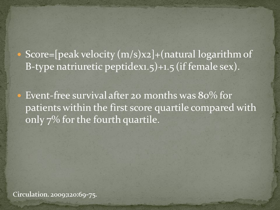 Score=[peak velocity (m/s)x2]+(natural logarithm of B-type natriuretic peptidex1.5)+1.5 (if female sex). Event-free survival after 20 months was 80% f