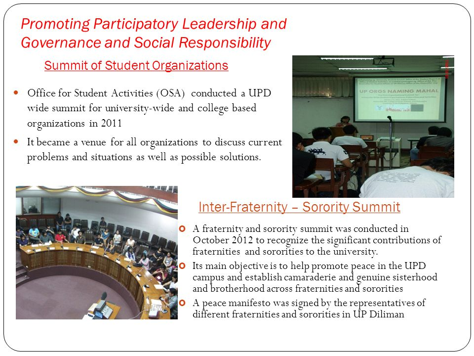 Promoting Participatory Leadership and Governance and Social Responsibility Summit of Student Organizations Office for Student Activities (OSA) conduc