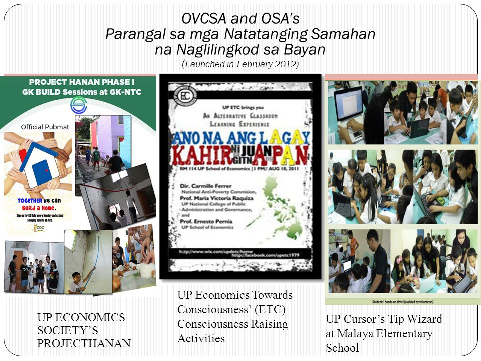'Paglilingkod sa Bayan' Talks by UPD Alumni during the University Job Fair (UJF) College Tours of the USC and OCG ( started with the January 2012 UJF )